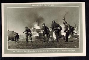 Mint WW2 RPPC Postcard Germany Army Wehrmacht Infantry Attacking Burning Village
