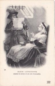 Marie Antoinette ecoutant la lecture de son acte d'accusation
