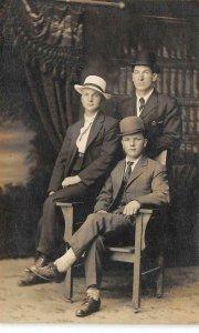 RPPC Edwardian-Era Men Studio Photo Portland, Oregon c1910s Vintage Postcard