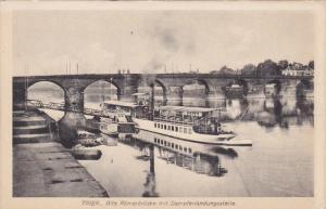 TRIER, Alte Romerbrucke mit Dampferlandungsstelle, Rhineland-Palatinate, Germ...