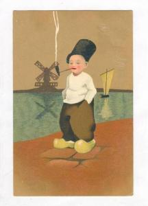 Art Postcard, Dutch boy smoing pipe, 00-10s