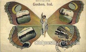 Greetings from Goshen Indiana, USA Horse 1912 crease left top corner, postal ...
