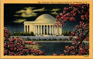 Moonlight Jefferson Memorial Washington, D.C. moon, clouds cherry blossoms