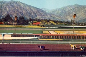 SANTA ANITA HORSE RACE TRACK SCENE SAN GABRIEL MTS. IN BACKGROUNS ARCADIA, CA