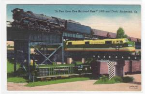 Three Railroad Train Junction Richmond Virginia linen postcard