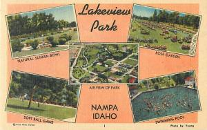 Scenes in Lakeview Park, Nampa, Idaho ID, Linen Postcard
