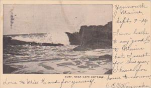 Surf Near Cape Cottage Maine 1904 Private Mailing Card
