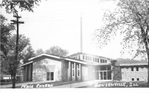 G34/ Bensenville Illinois RPPC Postcard c1950s Peacee Church Building