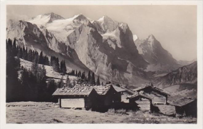 Switzerland Hasliberg Maegisalp mot Wetterhorngruppe Real Photo