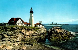 Maine Portland Head Lighthouse With The Prince Of Fundy Passing In Background