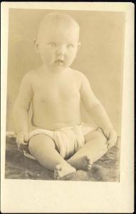 Cute Little BABY CHILD in DIAPER Real Photo (1910s) RPPC