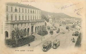 Algeria Alger la lycee 1902 tramways tram