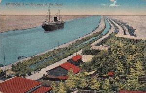 PORT-SAID, Egypt, PU-1928; Entrance Of The Canal, Steam Ship
