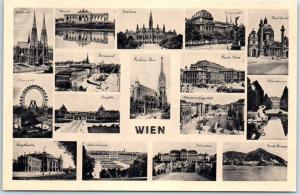 Vienna, Austria Postcard WIEN Multi-View Ferris Wheel Church Street Views c1907