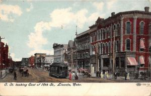 Lincoln Nebraska~Trolley on O St Looking East of 10th St~1918 Postcard