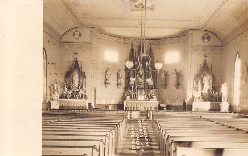 Monona Iowa~St Patrick's Catholic Church~Interior View~c1912 Real Photo~RPPC