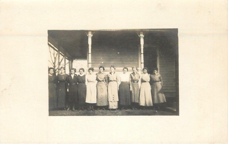 Vintage Real Photo Postcard~11 Victorian Lady Lineup by Porch~Hair Up~1909 RPPC