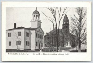 Derry New Hampshire~Old & New Pinkerton Academy~Clock Tower~1920s B&W PC