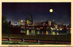 Maryland Baltimore Skyline At Night Curteich