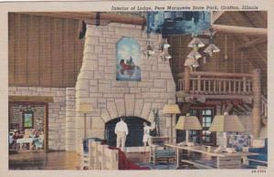 Illinois Grafton Interior Of Lodge Pere Marquette State Park Curteich