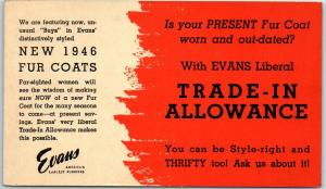Vintage Chicago IL Advertising Postcard EVANS FURRIERS New 1946 Fur Coats