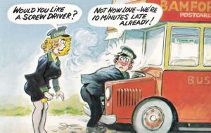 Sexy Lady Bus Conductor Warden Helps Driver Needing Screw Comic Humour Postcard