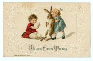1912 WELCOME EASTER MORNING JOHN WINSCH EMBOSSED KIDS EGGS BUNNY RABBIT POSTCARD