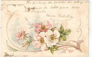 Flowers Old vintage antique Spanish postcard