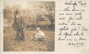 H78/ Washington D.C. RPPC Postcard c1910 Girl Man Wagon Ride Elbie Foltz 172