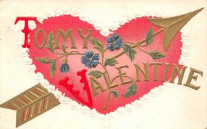 Valentine~Arrow Thru Red & White Rose Border Heart~Flowers~Gold Emboss~Germany