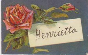 Henrietta Written in Glitter, Red Rose 1900-10s