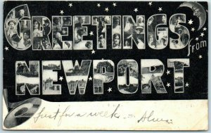 1906 GREETINGS FROM NEWPORT Rhode Island Large Letter Postcard w/ Girls' Faces