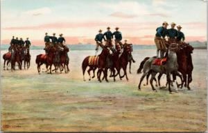 Soldiers Standing On Horses Riding Calvalry Military Unused Postcard E40