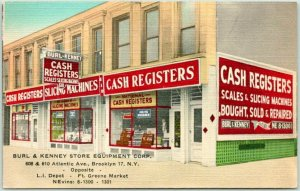 1940s BROOKLYN New York Advertising Postcard BURL & KENNEY STORE EQUIPMENT CORP.