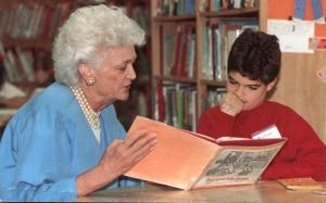 First Lady Barbara Bush promoting Reading - pm 1990
