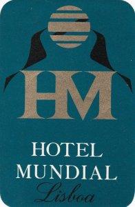 Portugal Lisboa Hotel Mundial Luggage Label sk4590