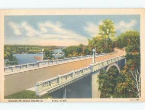 Linen MISSISSIPPI RIVER BRIDGE St. Paul Minnesota MN d4671