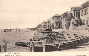 Sea Front Fishing Boats Roseau Dominica British West Indies 1907 postcard