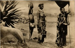 PC CPA ETHNIC NUDE FEMALE TYPES BASUTO AFRICA Real Photo Postcard (b676)