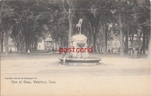 1905 WATERBURY CT View of Green, Rotograph, publ Devereaux, horse fountain