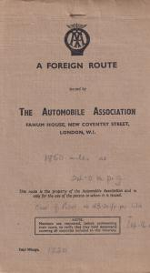 AA Automobile Association A Foreign Route French Travel Guide 1949 Book