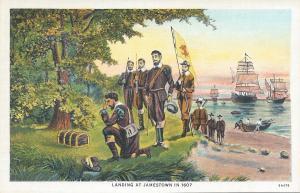 Landing at Jamestown in 1607, Early Postcard, Unused