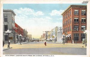 South Dakota SD Postcard c1910 MITCHELL Main Street South from 3rd Avenue Stores
