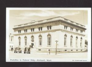 RPPC KALISPELL MONTANA UNITED STATES POST OFFICE VINTAGE POSTCARD 1940's CARS