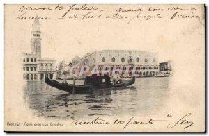 Italy Venezia Old Postcard Panorama Gondola con