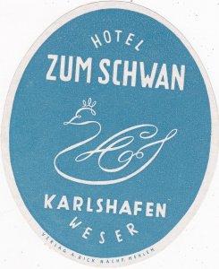 Germany Karlshafen Hotel Zum Schwan Vintage Luggage Label sk3815