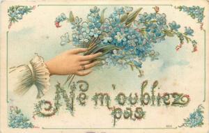 Embossed lady hand with flowers vintage 1906 greetings fantasy postcard