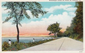 NAUVOO, Illinois, 1910s; Mississippi River Scene on Route 96