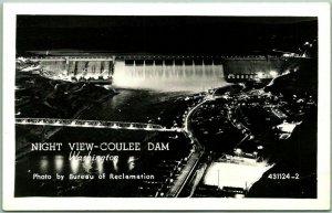 Grand Coulee Dam, Washington RPPC Real Photo Postcard NIGHT VIEW c1940s Unused