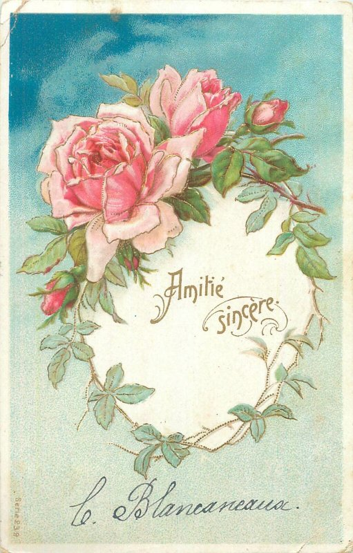 Early embossed greetings postcard amitie sincere